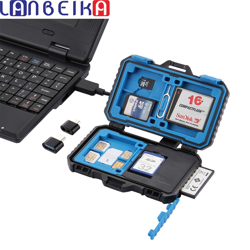 LANBEIKA Memory-Card-Case Holder Tf-Reader Waterproof SD Usb-3.0 CF Fuction OTG 9/22/27-slots title=