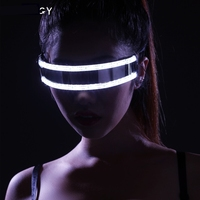 Cool EL Glow glasses LED Light Flashing Striped Luminous Mask women Men Club Dance Cosplay Party Glowing Supplies Bar Show