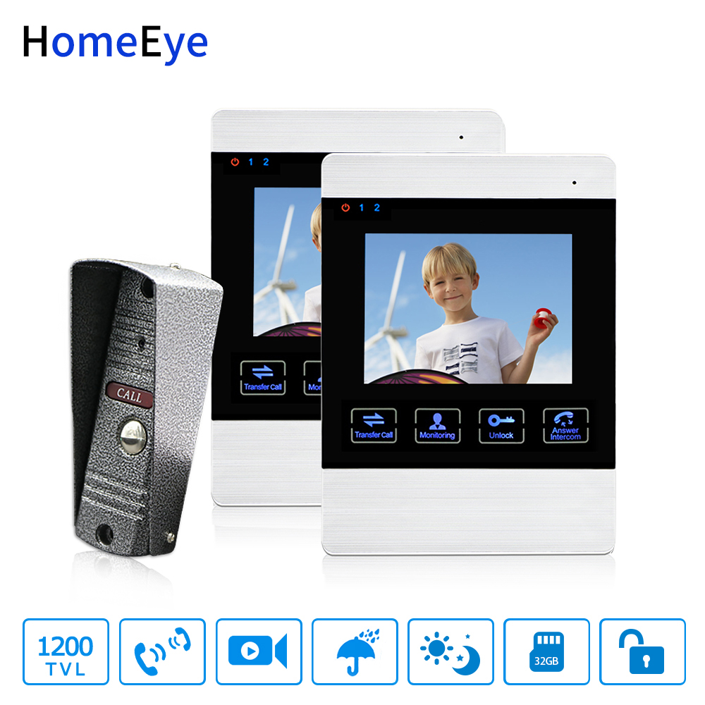 HomeEye Video Door Phone Video Intercom Doorbell 1200TVL Camera 4'' Monitor Video Record Unlock Door 1-2 Security Access System