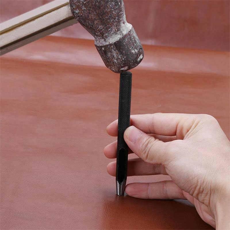 Lmdz 1 Pcs 11 Ukuran Bulat Baja Karbon Kerajinan Kulit Shank Hollow Lubang Punch 1 Mm-10 Mm untuk kulit Sabuk Band Gasket Pukulan Alat