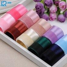25mm /2.5cm Half satin half yarn ribbons DIY bowknot accessories Ribbed ribbon handmade tape 12m/lot