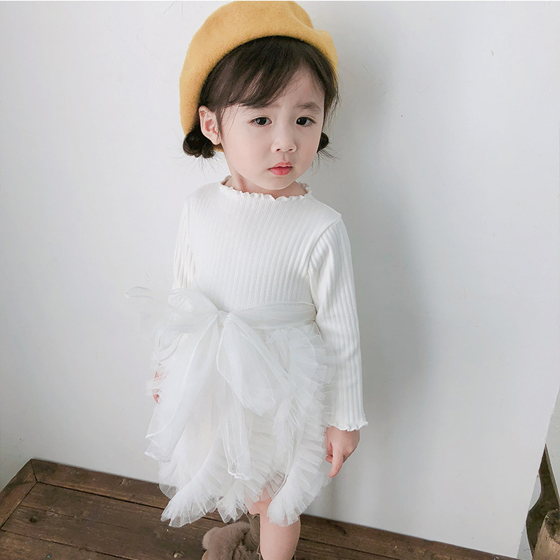 2019 Cotton Long Sleeve Knitted Kids Dresses For Girls Toddler Clothing Baby Girl Drees Tulle Patchwork Grey Pink White Spring 20