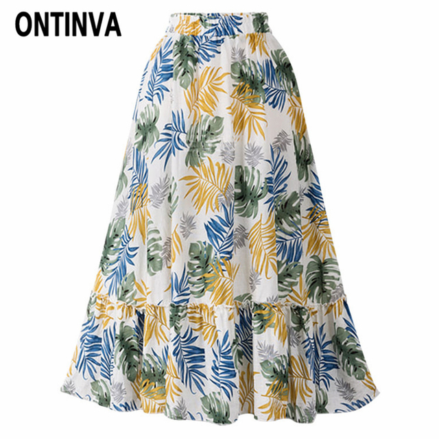 ba2429e574 Women Tropical Leaf Print Beach Skirt Plus Size 3XL 4XL Girls High Waist  Pleated Midi Jupe Summer Vacation Holiday Fashion Saias
