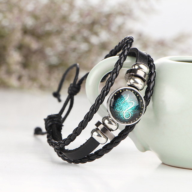 Leather Zodiac Sign Bangle Bracelets /w Button Type Bead