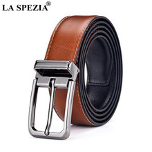 LA SPEZIA Double Sided Genuine Leather Belt Male Brown Black Men Casual High Quality Belt Pin Buckle Real Leather Belts for Men(China)