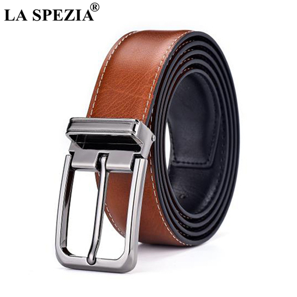 LA SPEZIA Double Sided Genuine Leather   Belt   Male Brown Black Men Casual High Quality   Belt   Pin Buckle Real Leather   Belts   for Men