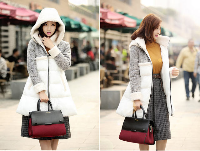 hot selling 2013 fashion lambs wool patchowork female winter outerwear medium long thick down padded coat woman M-XXL D2034