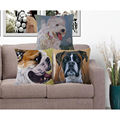 Pillowcase Pug Dog Cushion Cover Woven Linen Car Chair Seat 18x18 inches Throw Decorative Pillows Wedding Decoration