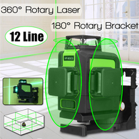 12 Lines Green Cross Line Laser Level 3D 360 Degree Rotation Self Leveling Horizontal Vertical With 180 Degree Rotary Bracket