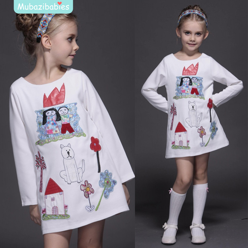2016 Spring Autumn Girl Dress Boutique Embroidery Cartoon Cotton Kids Clothing High-quality Children's Dresses 2016 autumn
