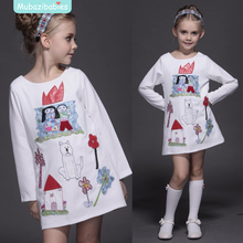 2016 Spring Autumn Girl Dress Boutique Embroidery Cartoon Cotton Kids Clothing High-quality Children's Dresses