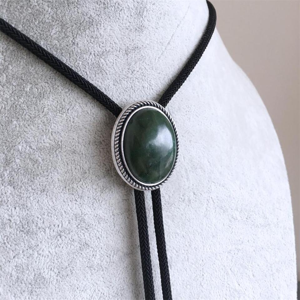 Original Vintage Silver Plated Handcraft Nature ZA Greenstone Wedding Oval Tie