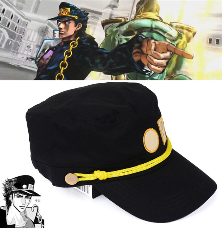 Anime Jojo's Bizarre Adventure Hat Kujo Jotaro Cosplay Cap Badge Unisex Cosplay Costume