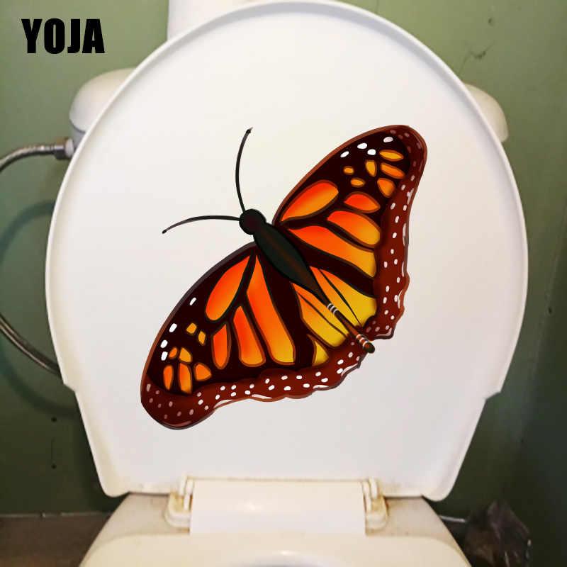 YOJA 20X21.9 CM ผีเสื้อบ้านตกแต่งห้องนอนเด็กสติ๊กเกอร์ติดผนัง WC ห้องน้ำรูปลอก T1-2197