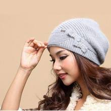 New Autumn And Winter Women Hat Winter Beanies Knitted Hats For Woman Rabbit Fur Cap Ladies Fashion Skullies Free Shipping