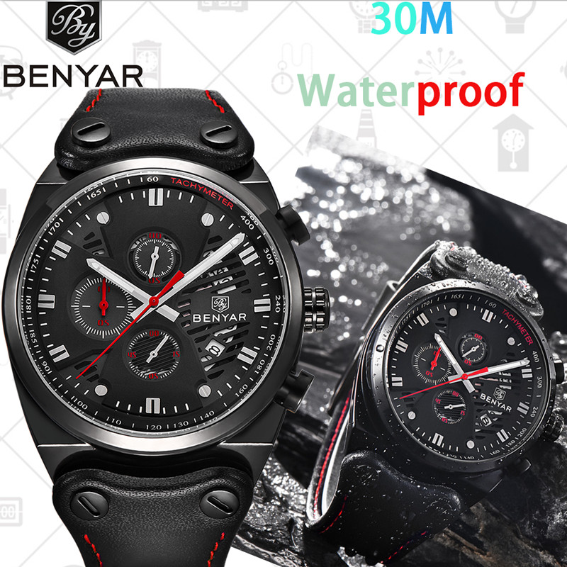 Top Luxury BENYAR Multifunction Watch Men Quartz Brand Waterproof Chronograph Business Military Sport Leather reloj hombre+giftTop Luxury BENYAR Multifunction Watch Men Quartz Brand Waterproof Chronograph Business Military Sport Leather reloj hombre+gift