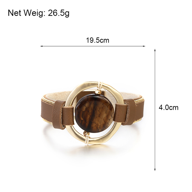 Brown Leather Bracelet size details