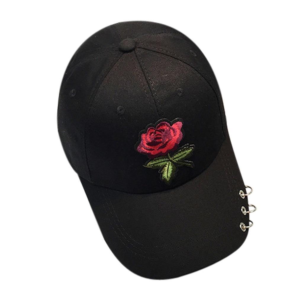 Women   Baseball     caps   Summer flower girl Rose Snapback Hip Hop Flat Hat female cotton casquette Gorras Casual   Cap   embroider #0