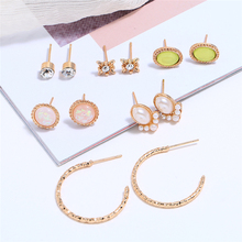Bohopan 6Pairs/Set Fashion Gold Stud Earrings Set Shine Crystal For Women Elegant Luxury Pearl Jewelry Gifts