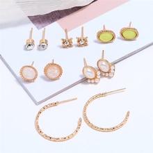 Bohopan 6Pairs/Set Fashion Gold Stud Earrings Set Shine Crystal Earrings For Women Elegant Luxury Pearl Earrings Jewelry Gifts недорого