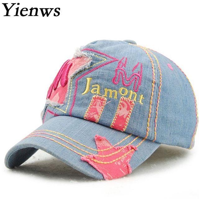 Yienws Vaqueros béisbol para Niños Niñas verano Bordado hueso cinco panel  gorra de béisbol luz azul 848f5871f42