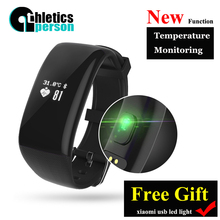 Athleticsperson H6 Smart Bracelet Heart Rate Monitor Fitness Tracker Temperature monitoring Smartband For iOS Android Free