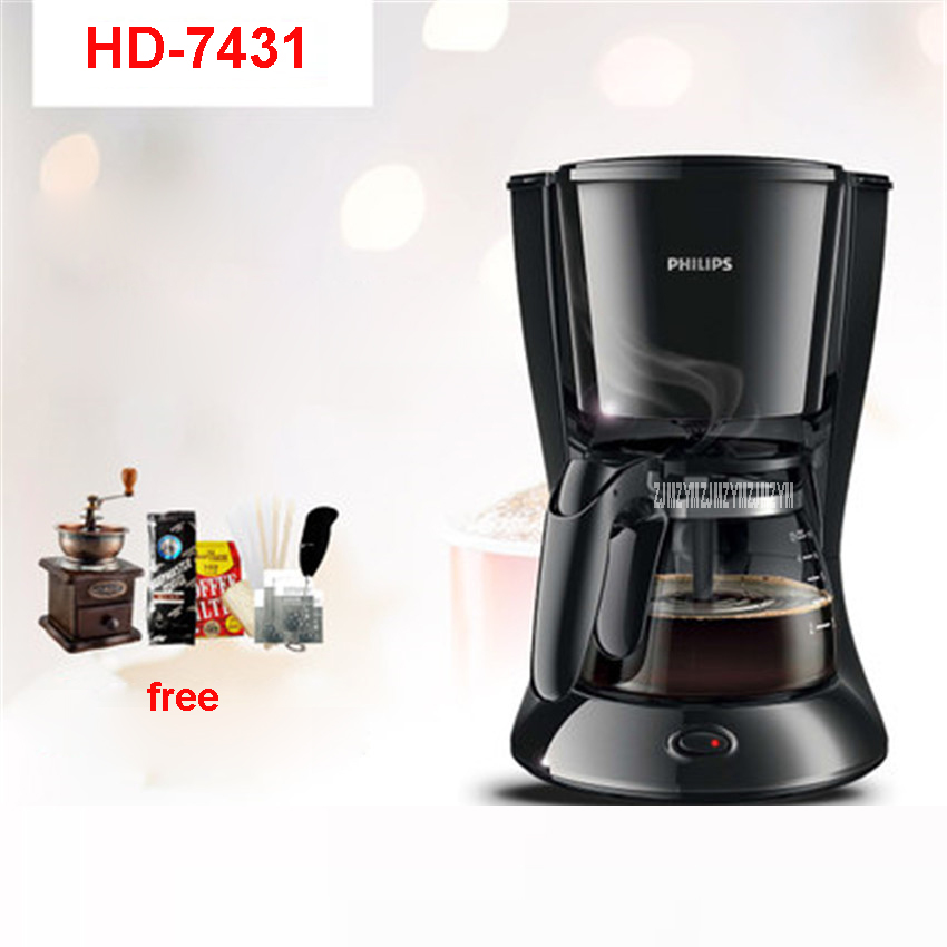 HD7431 220V/50Hz Fully Automatic Coffee Machine 700W Coffee Machine for American Coffee Machines food grade ABS material 0.6L home intelligent fully automatic american style coffee machine drip type small is grinding ice cream teapot one machine