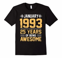 Tailored Shirts Crew Neck Cotton Short Sleeve Legends Born In JANUARY 1993 25 Yrs Years Old