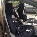 18 unids/set Personalizado Cráneo Cubierta de Asiento de Coche de la Felpa de Terciopelo cubierta de Coche Universal fit Auto Asiento Accesorios-Negro