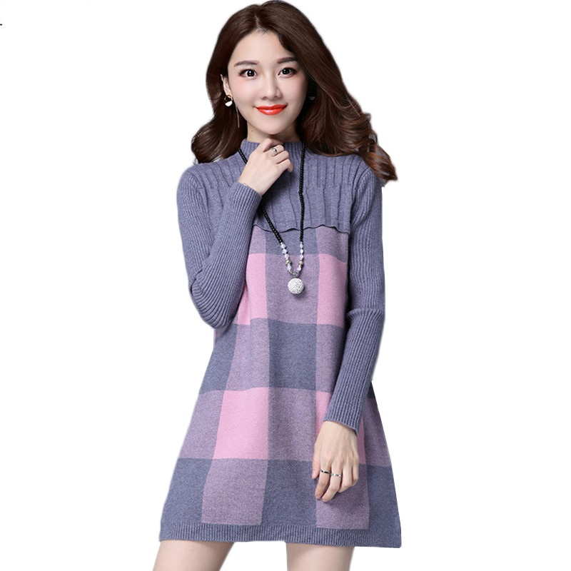 OKXGNZ Women Knitted Dress Round Neck Long Sleeve A-Line Pullover Knitted 2018 New Autumn Winter Women Mini Sweater Dress K782 2542 3 5 inch grosgrain ribbon hair bow diy children hair accessories baby hairbow girl hair bows without clip 16pcs lot