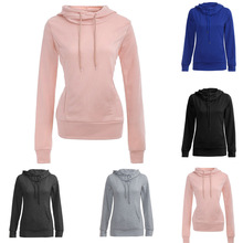 S-2XL women long sleeve hooded tops blouse spring autumn pure color pocket blouse casual leisure slim criteria blouse blouse 0800500 49