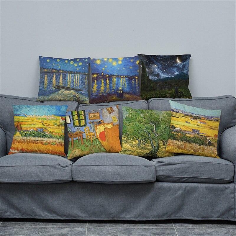 vairumtirdzniecība kāzu dāvanu spilvenu vāciņš Eiropas klasiskā māksla Van Goga eļļas glezna spilvena segums mājas dīvāns dekoratīvais spilvendrānas korpuss