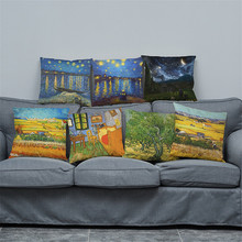 wholesale wedding gift cushion cover European classical art Van Gogh oil painting pillow home sofa decorative case