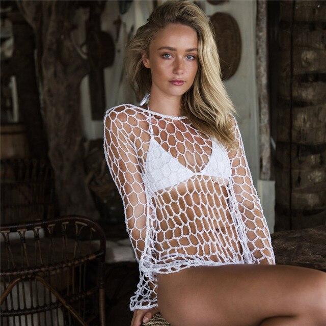 cb98514041 2019 Yaz Kadın Fishnet Plaj Cover Up Seksi Hollow Tığ Bikini Beachwear Pareo  Mayo Kapak Ups Örgü Elbisesi tunik