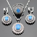 Christmas Australia Blue Opal White Cubic Zirconia Silver Color Jewelry Sets For Women Necklace Pendant Earrings Rings Gift Box
