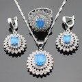 Natal Austrália Azul Opala Branco Cubic Zirconia Prata Brincos Anéis Conjuntos de Jóias Para As Mulheres Colar de Pingente de Cor da Caixa de Presente
