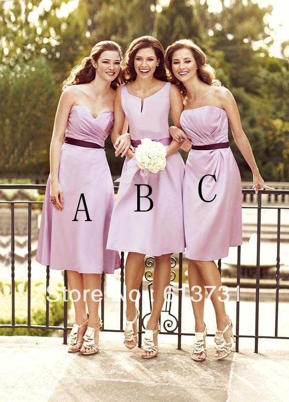 Wholesale Country Style Sleeveless Sashes Satin Knee Length Purple   Bridesmaid     Dress   Sleeveless Party Gowns