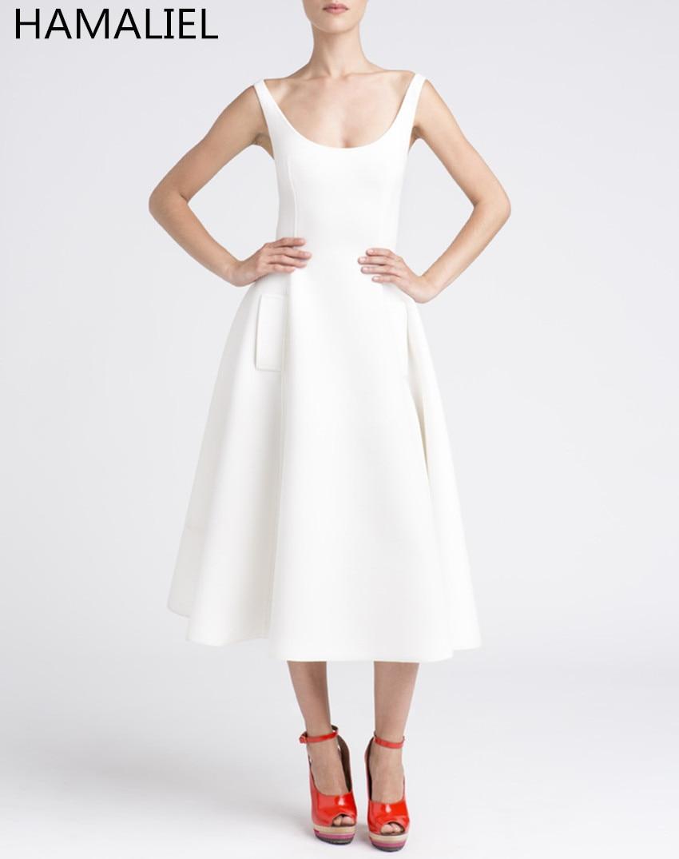 vestidos elegantes mujeres del partido del verano dress runway blanco sin mangas de algodn espacio