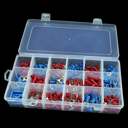 Free Shipping 330pcs Assorted Full Insulated Fork U-type Set Terminals Connectors Assortment Kit Electrical Crimp Contact Materi