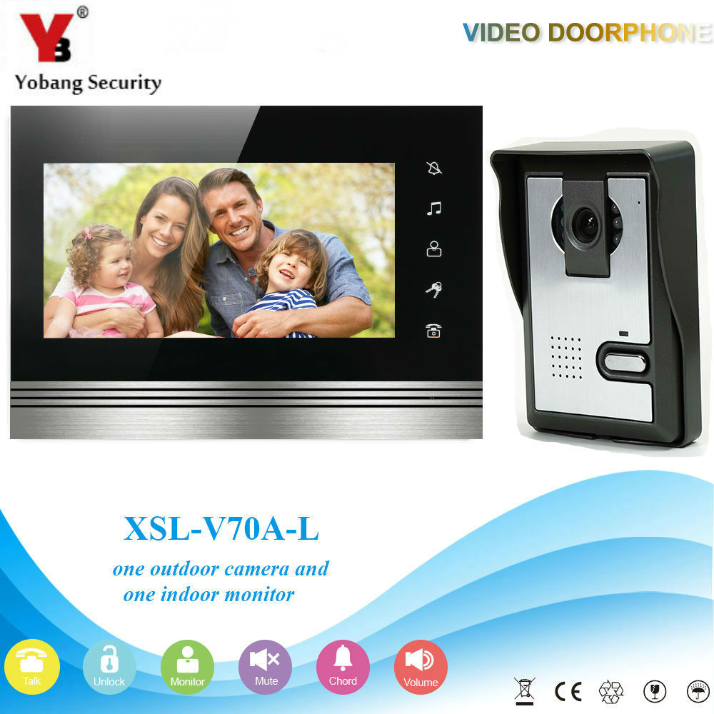 YobangSecurity 7 LCD Wired Color Video Door Phone Doorbell For Home Office Intercom Monitor Visual Security Camera Bell System аккумуляторная дрель шуруповерт bort bab 10 8 p