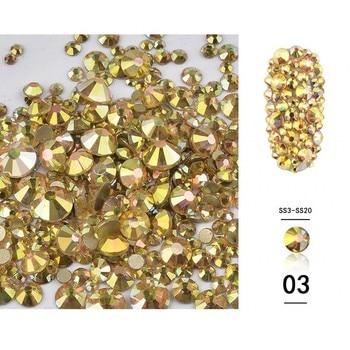 1440PCS Mixed Sizes SS3-SS20 Crystals Gold AB Stones Non Hotfix Flatback Nail Rhinestones For Nails 3D Nail Art Decorations Gems new 1340pcs pack mixed ss4 ss16 nail rhinestones crystal colorful ab nail art decorations non hot fix flatback glass stone gems
