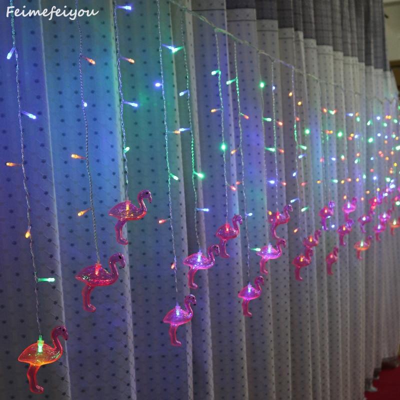 Feimefeiyou 3.5m 96 Leds Flamingo Fairy Lights String LED Curtain Light String Bedroom Living Room Christmas Wedding Party Decor