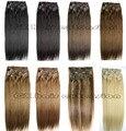 Envío gratis grueso cabeza llena de seda suave remy brasileña del pelo humano Clips en / sobre extensiones 240 g/set 26 colores disponibles