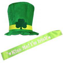26833b228d4f2 Trevo irlandês Stovepipe St. Patricks Day Chapéu Verde Top De Veludo Chapéu  Do Partido Do Traje Leprechaun Hat Manga + Meias + a.