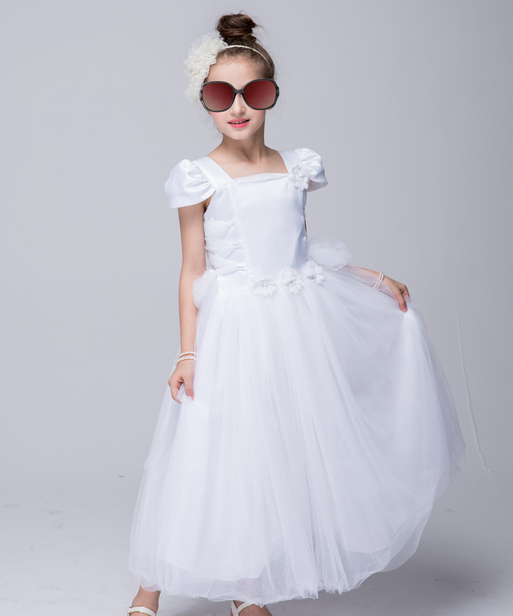 Girls Dress Sleeveless High Grade Flowers Baby Girl Party Princess Dress Kids Dresses For Girls Wedding and Evening Long Dress amazing style girl wedding dress short sleeve with flowers kids party dresses for girls baby infant 1lot 5pcs lh705