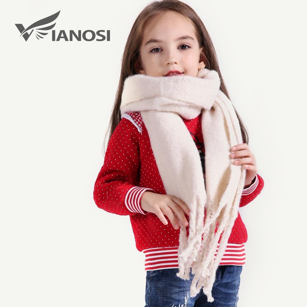 VIANOSI Children's Cotton Scarves Baby Bib Warm Soft Boys Scarves Girls Knitted Tassel Scarf CH002