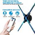 50 см 4 вентилятора голографический вентилятор с Wi-Fi управлением 3D Голограмма рекламный дисплей светодиодный вентилятор голографическое из...