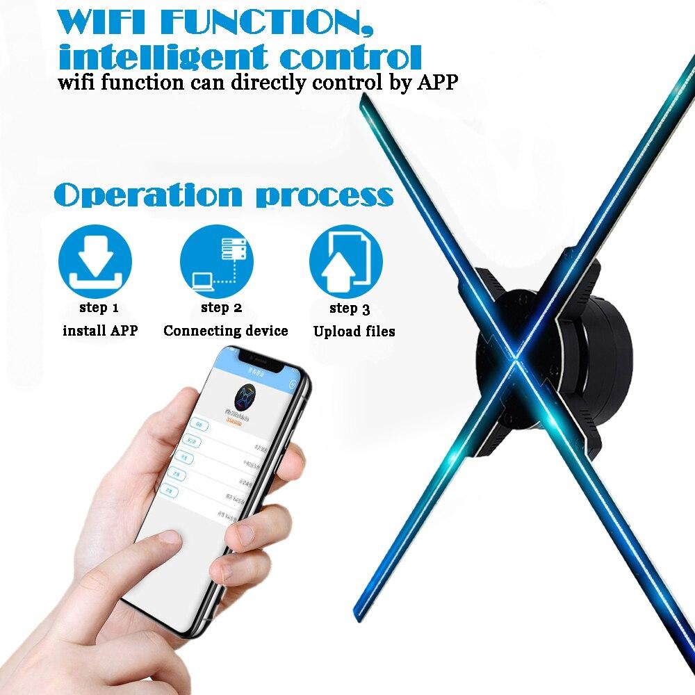 50 CM 4 fã luz ventilador com controle wifi 3D Holograma holograma Publicidade Display LED Fan Imagens Holográficas para férias loja