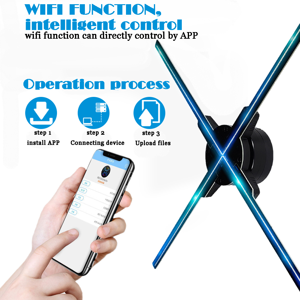 50CM 4 fan hologram fan light with wifi control 3D Hologram Advertising Display LED Fan Holographic Imaging for holiday shop50CM 4 fan hologram fan light with wifi control 3D Hologram Advertising Display LED Fan Holographic Imaging for holiday shop