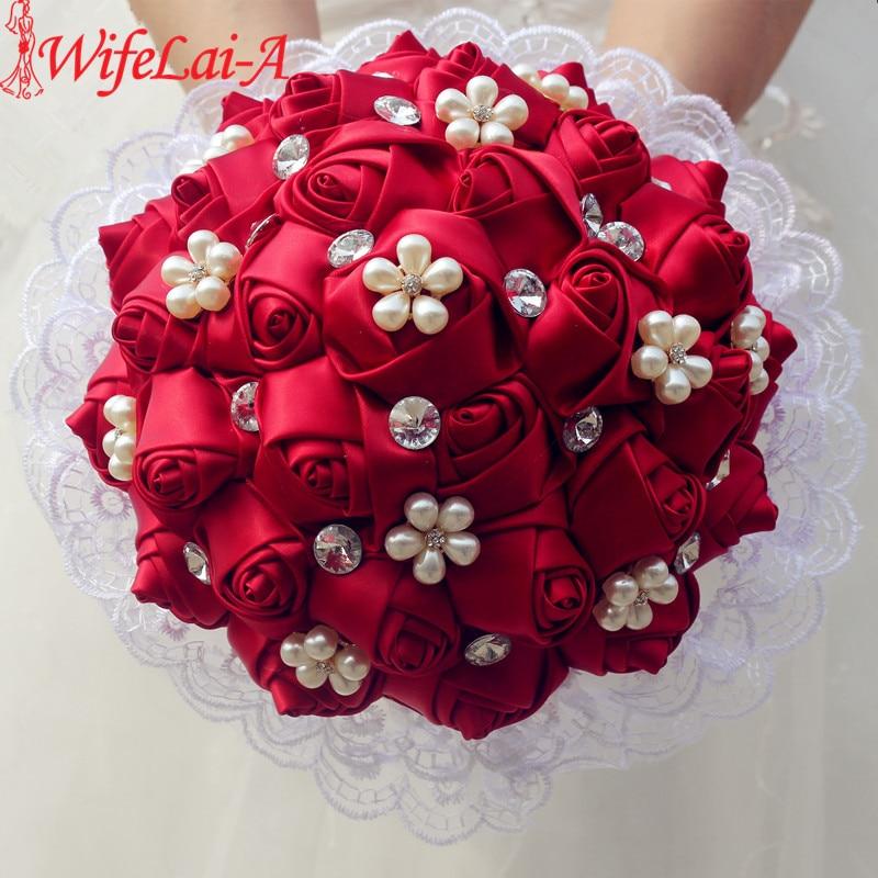 WifeLai-A 1 pieza de encaje vino rojo rosa flores broche tiras Ramos de perlas Flores de diamante nupcial decoración de la boda ramo W2286